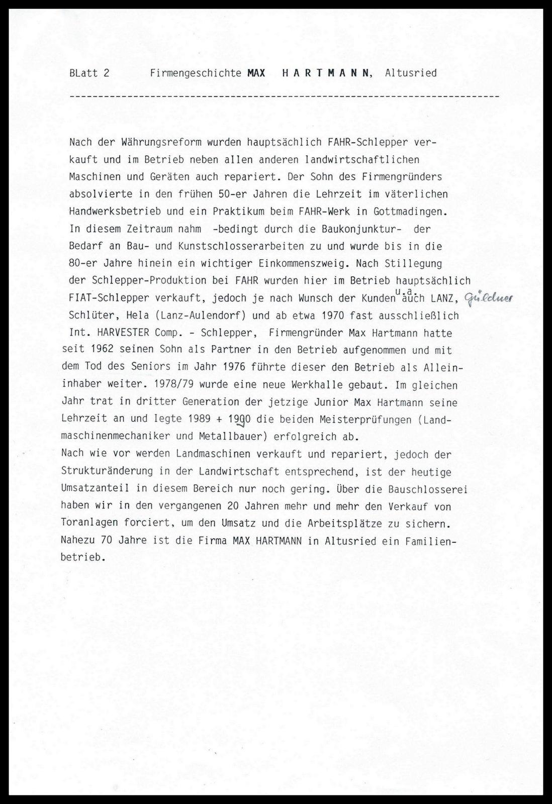 Hartmann - Altusried hat Geschichte